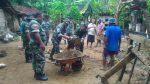 Tanggul Desa Poja Jebol, Danramil Turun Tangan Bersama Warga